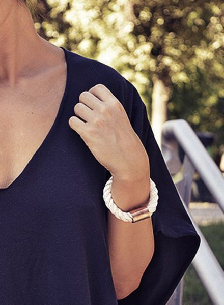"SIBYLAI Bracelet ""Copper Bold White"" available in 3 Styles: Copper, Black and White"