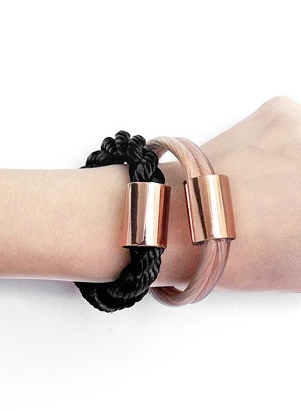 "SIBYLAI Bracelet ""Copper Bold Black"" available in 3 Styles: Copper, Black and White"