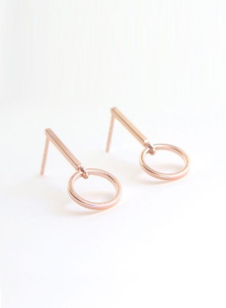 "SIBYLAI Earring ""No.1 Rosegold"" made of gold plated brass"