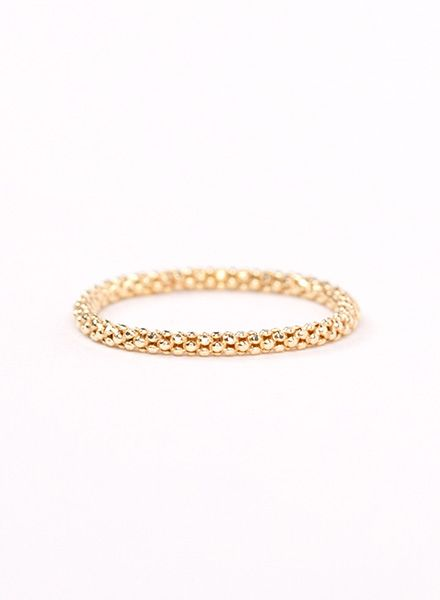 "Jukserei Chain ring ""Acorn"" Gold is handmade of gold plated 925 sterling silver"