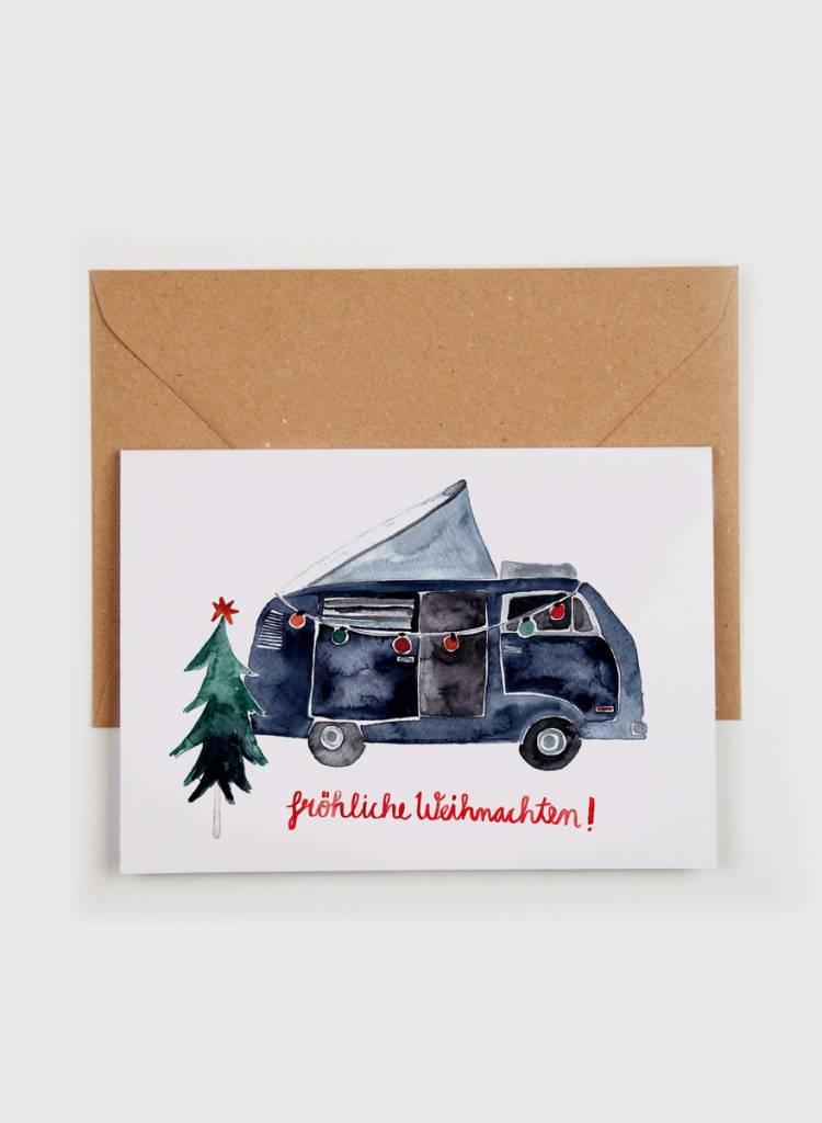 """Gretas Schwester Folding card """"Fröhliche Weihnachten"""" - Hand illustrated greeting card"""