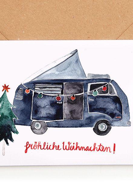 """Gretas Schwester Klappkarte """"Fröhliche Weihnachten"""" Handillustrierte Gruß-Karte"""