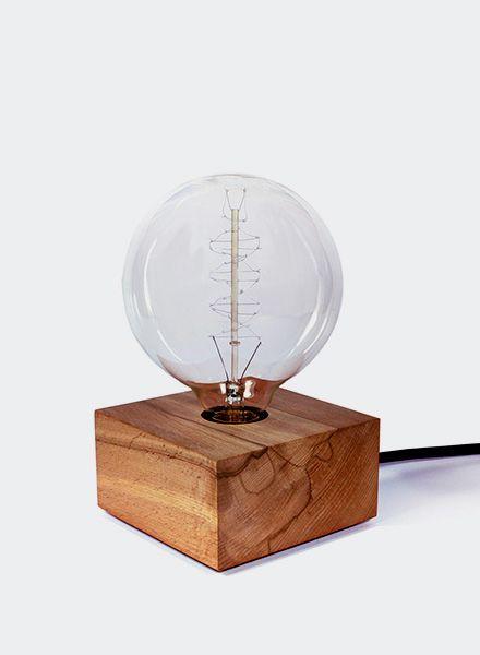 Edison Glow Leuchte Wilson Cube - Handgefertigt aus massivem Kernbuchenholz