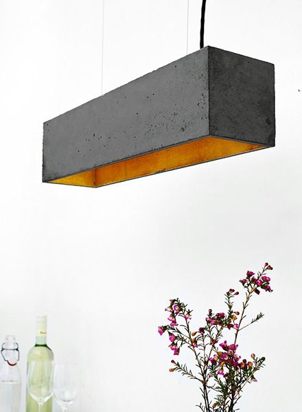 "GANTlights Pendant lamp ""B4"" made of concrete - gilded inside"