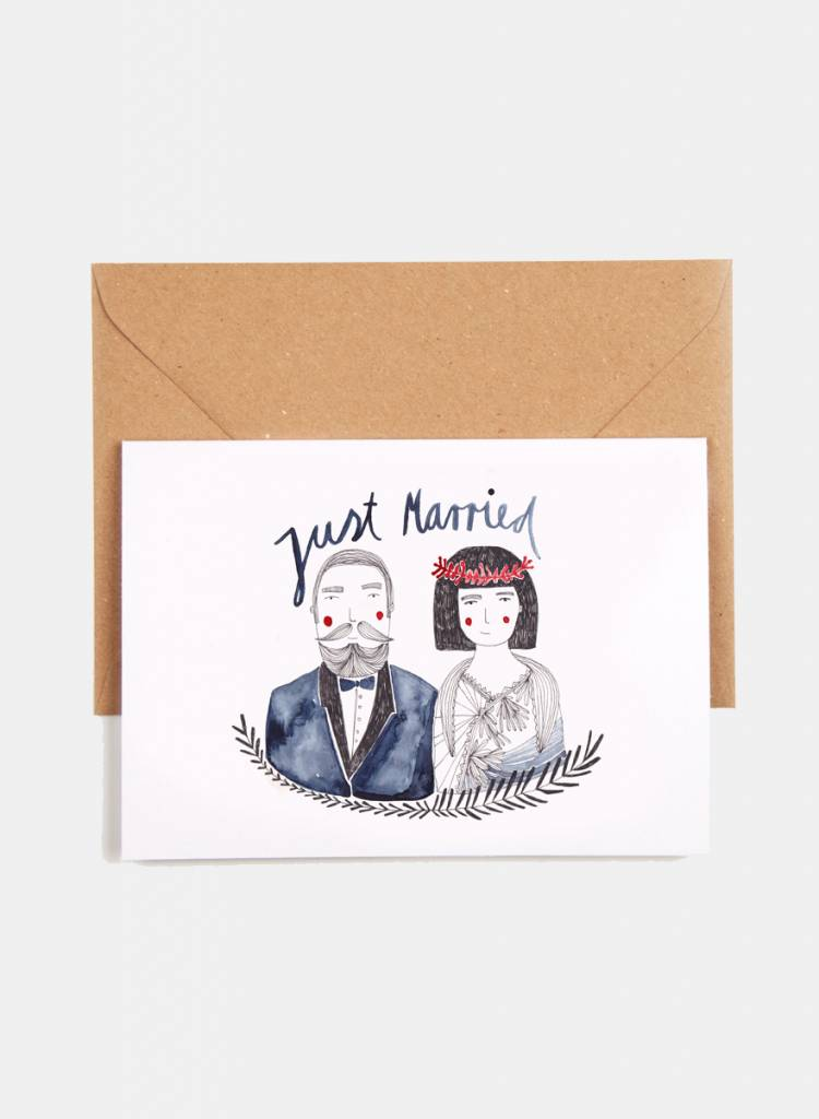 "Gretas Schwester Folding card ""Just married"" - Hand illustrated wedding card"
