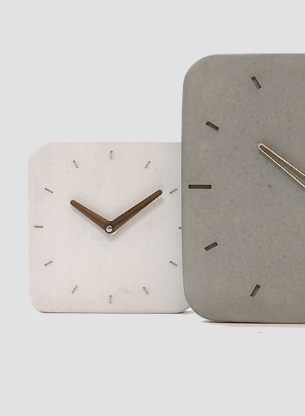 "WertWerke Wall Clock ""Classic M"" White - White pigmented concrete with wooden walnut hand"
