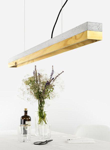 "GANTlights Lineare Pendelleuchte ""C1"" - Lampenkörper aus hellgrauem Beton"