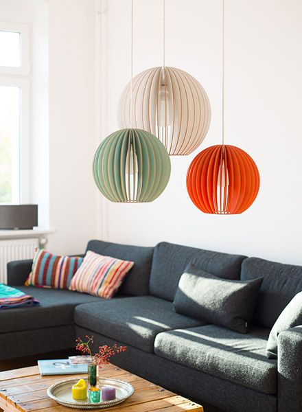"IUMI Pendant lamp ""Aion"" - made of birch plywood in 6 colours"