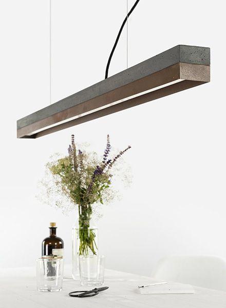 "GANTlights Lineare Pendelleuchte ""C1"" - Lampenkörper aus dunklem Beton"