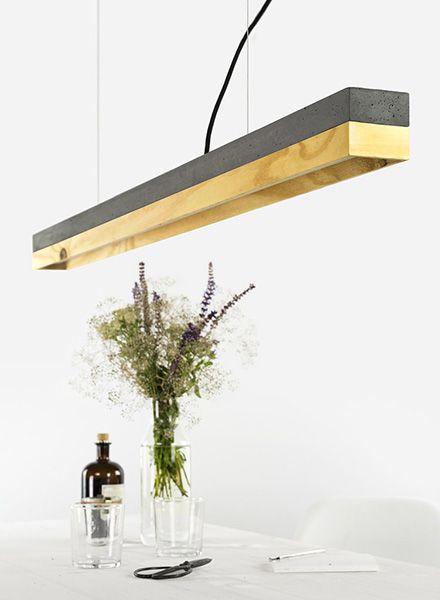"""GANTlights Linear pendant light """"C1"""" - Lamp made of dark concrete"""
