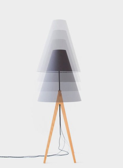 "Alex Valder Floor lamp ""Laemple"" - Height adjustable Lampe made of beech wood"