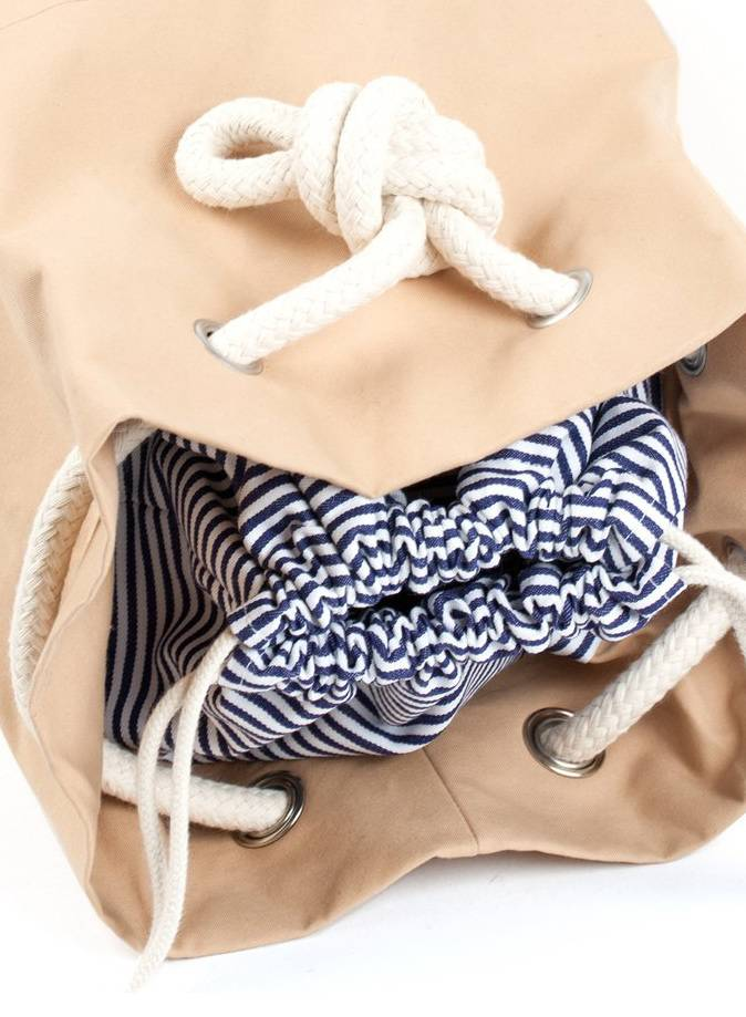 "Marin et Marine Backpack ""rainbag"" nude - made of sturdy, water and dirt resistent cotton"