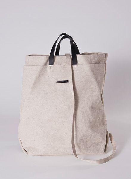Hänska Shopper/Backpack made of fine linen and leather straps