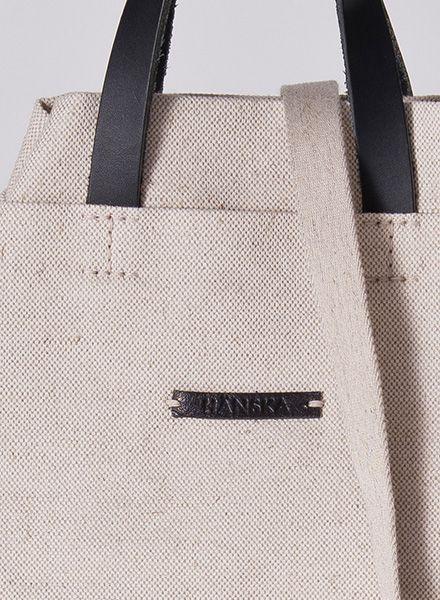 Hänska Shopper/Rucksack aus feinem Leinen und Lederhenkeln