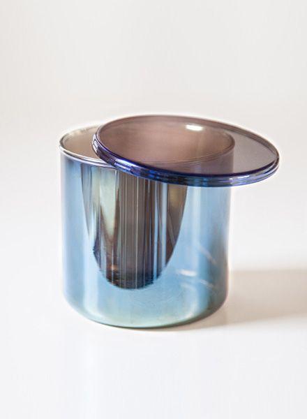 "Fundamental Kanister ""Benzin"" - Behälter aus semi transparentem Glas in schimmernden Regenbogenfarben"