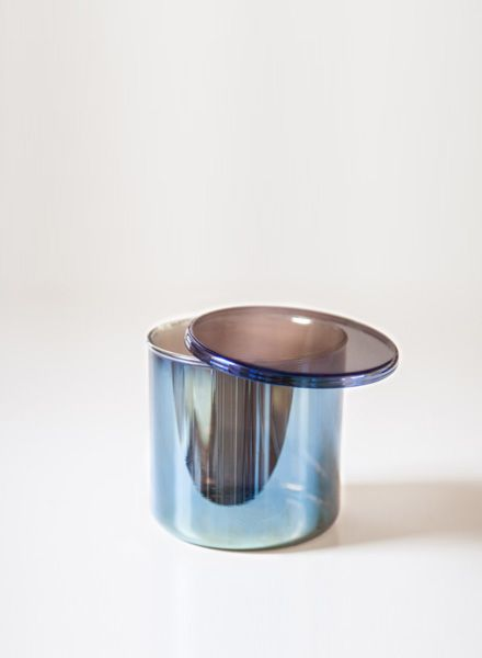 "Fundamental Canister ""Benzin"" - Semi transparent glass container shimmering in rainbow colours"