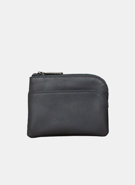 "Coudre Berlin Purse ""Coin"" Black - Made of soft leather with zipper"