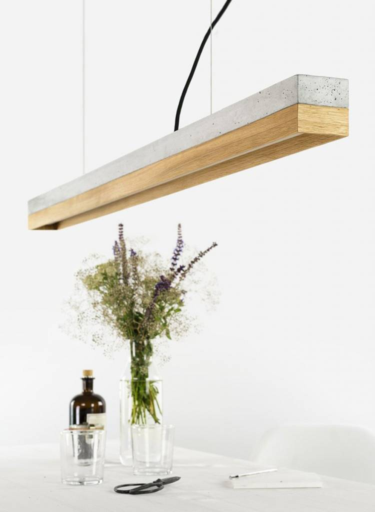 GANTlights Gantlights concrete lamp [C1] - Pendant light with light grey concrete body and lampshade made of oak