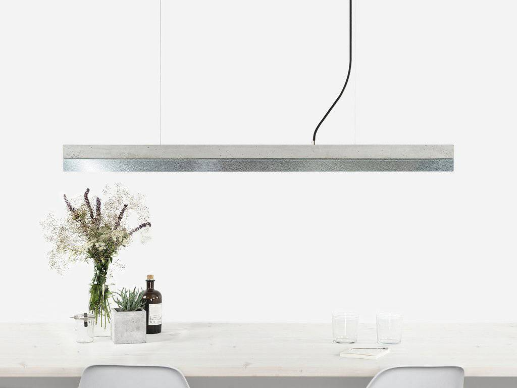 GANTlights Gantlights concrete lamp [C1] - Pendant light with light grey concrete body and lampshade made of zinc