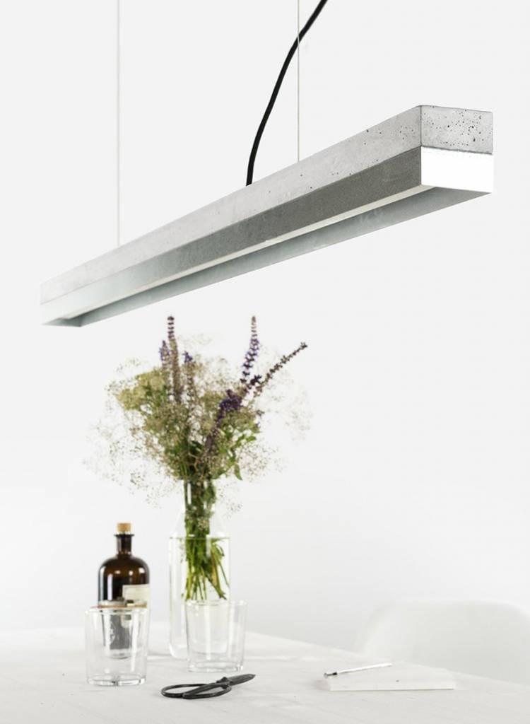 GANTlights Gantlights Hängeleuchte [C1] - Leuchte mit Körper aus hellgrauem Beton und Lampenschirm aus Zink