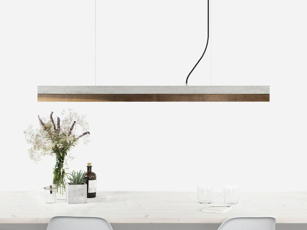 GANTlights Gantlights concrete lamp [C1] - Pendant light with light grey concrete body and lampshade made of walnut
