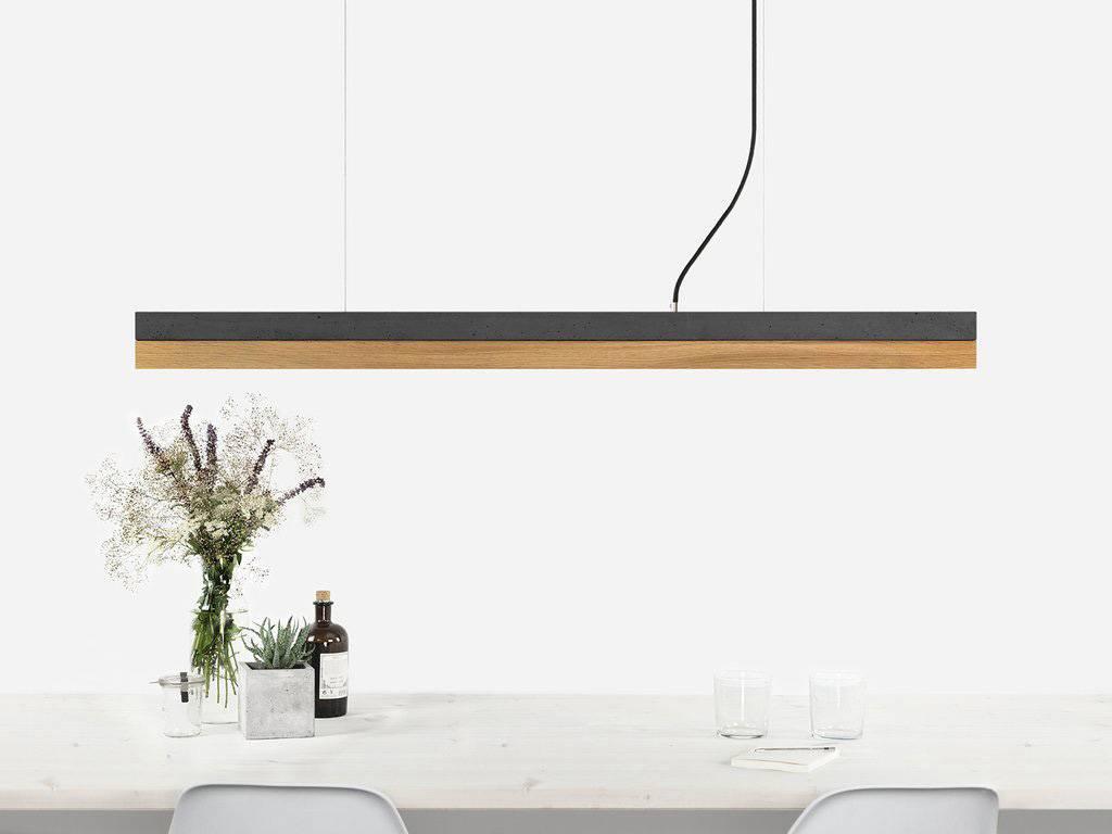 GANTlights Gantlights pendant lamp [C1] dark - Pendant light with dark grey concrete body and lampshade made of oak