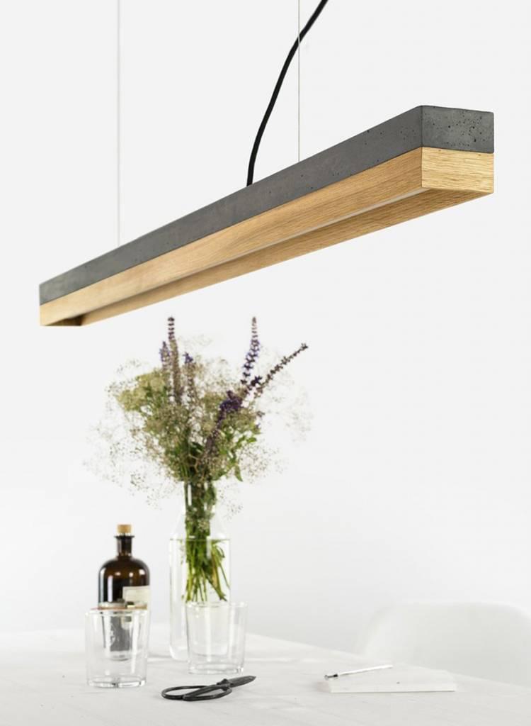 GANTlights Gantlights Pendellampe [C1] dark - Leuchte mit Körper aus dunkelgrauem Beton und Lampenschirm aus Eiche