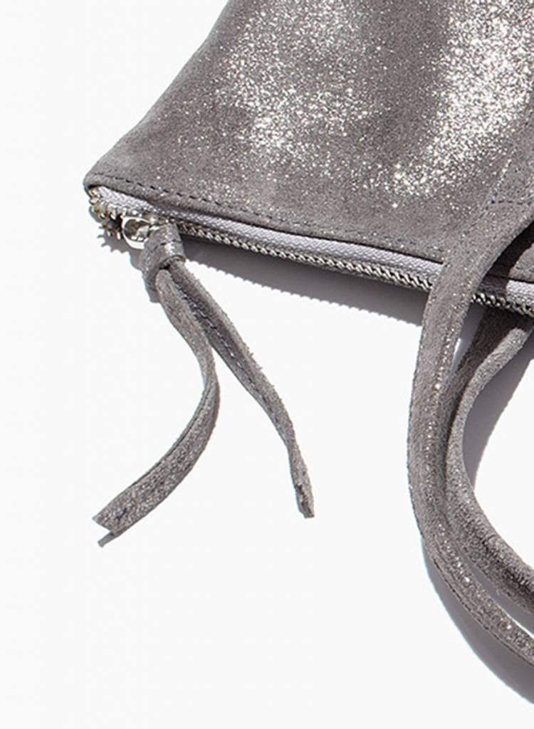 "Matke Leather Bag ""Starlight Tote bag"" silver with glitter finish"