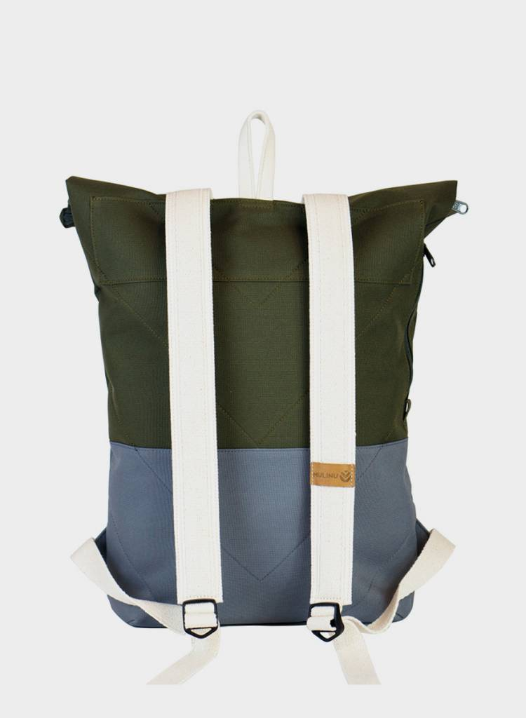 "MULINU Rucksack""Classic Albert"" Grey/Khaki - Made of waterproof & durable Cordura fabric - Copy"