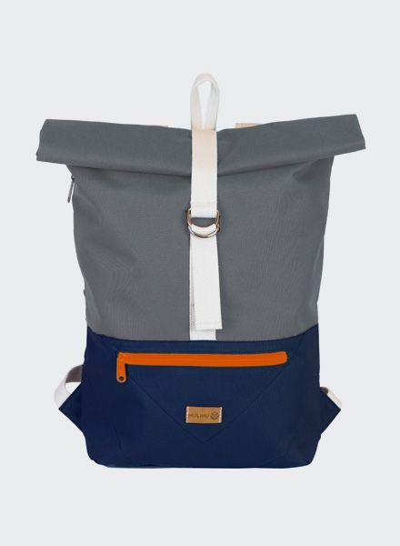"""MULINU Rucksack """"Individual Albert"""" Blau-Grau - Aus wasserdichtem & strapazierfähigem Cordura Material"""