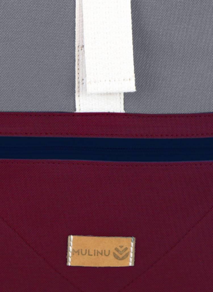 "MULINU Rucksack""Classic Albert"" Bordeaux-Grey - Made of waterproof & durable Cordura fabric"
