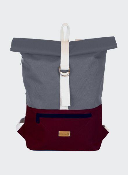 "MULINU Rucksack ""Individual Albert"" Bordeaux-Grau - Aus wasserdichtem & strapazierfähigem Cordura Material"
