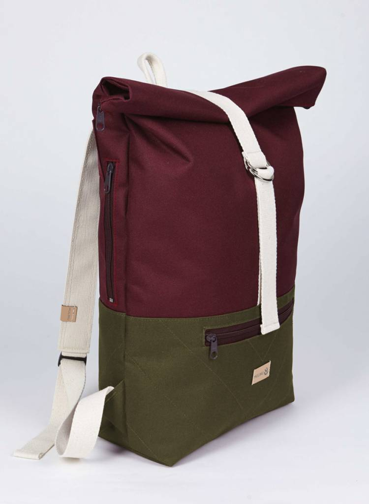 "MULINU Rucksack""Classic Albert"" Bordeaux-Grey - Made of waterproof & durable Cordura fabric - Copy"