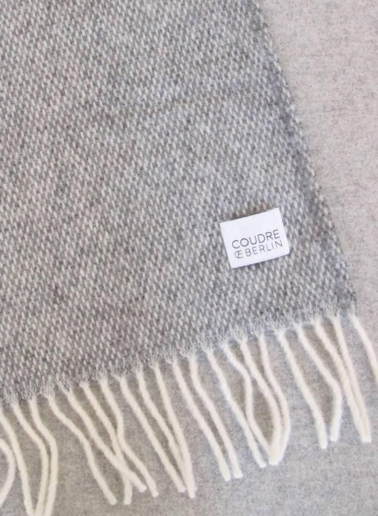 """Coudre Berlin Wolldecke """"Pick Stitch"""" Grau  - weiche und kuschelige Decke aus 100% Wolle"""