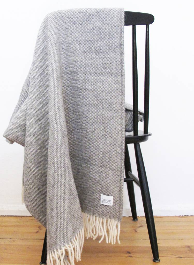 "Coudre Berlin Blanket ""Pick Stitch"" Grey- Cosy and warm throw made of 100% wool"