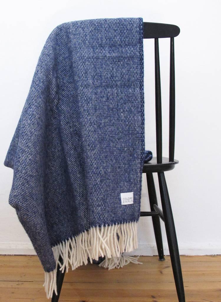 """Coudre Berlin Wolldecke """"Pick Stitch"""" Blau  - weiche und kuschelige Decke aus 100% Wolle"""
