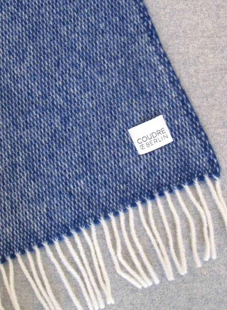 "Coudre Berlin Blanket ""Pick Stitch"" Blue- Cosy and warm throw made of 100% wool"
