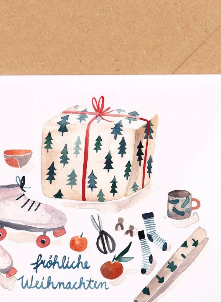 "Gretas Schwester Folding card ""Presents"" - Hand illustrated greeting card"