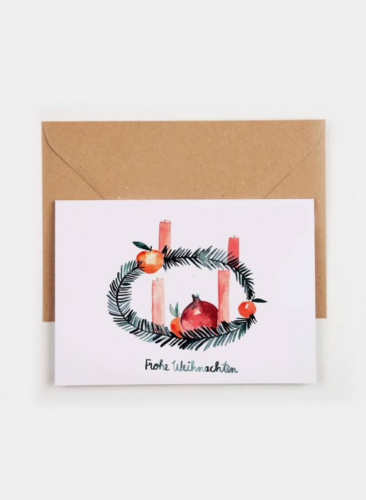 "Gretas Schwester Folding card ""Wreath"" - Hand illustrated greeting card  - Copy"