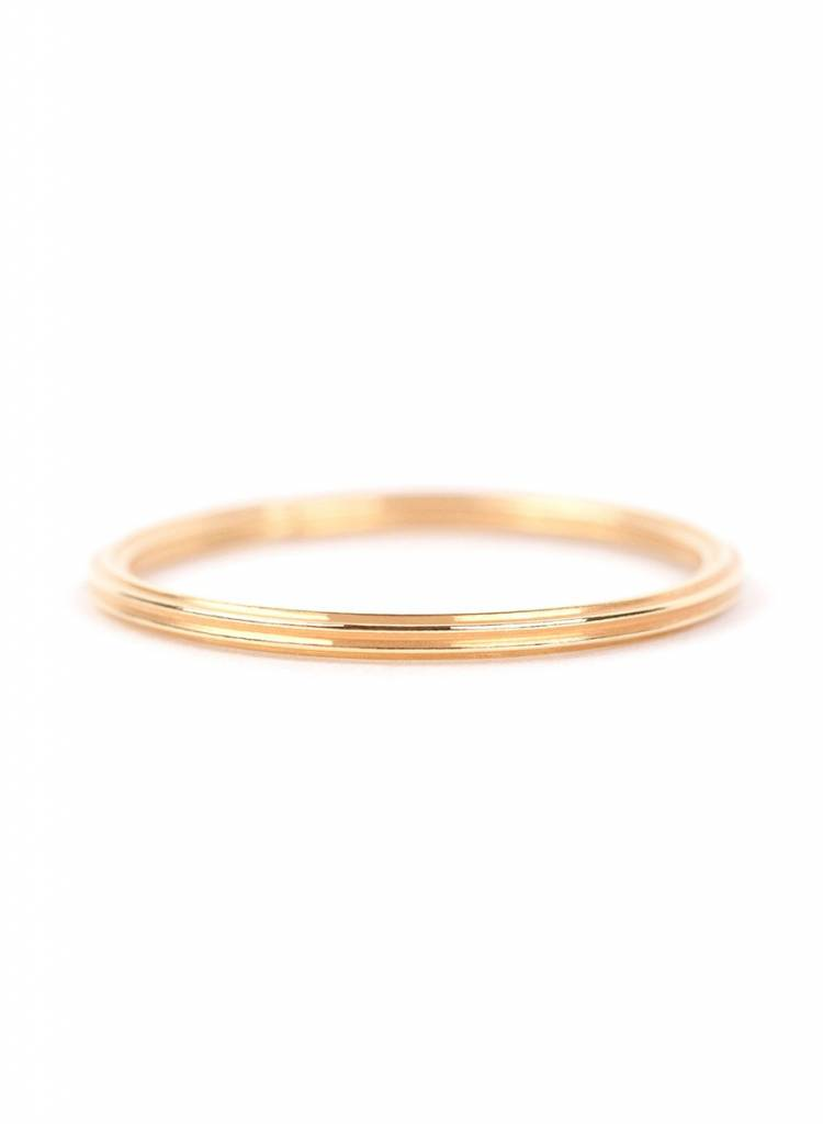 "Jukserei Ring ""Rille"" Gold - handmade of gold plated  925 sterling silver"