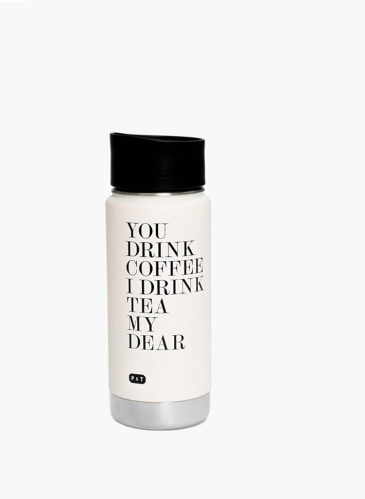 """Paper & Tea Thermos jug """"My Dear Bottle"""" - Can be used as insulated bottle or drinking mug"""