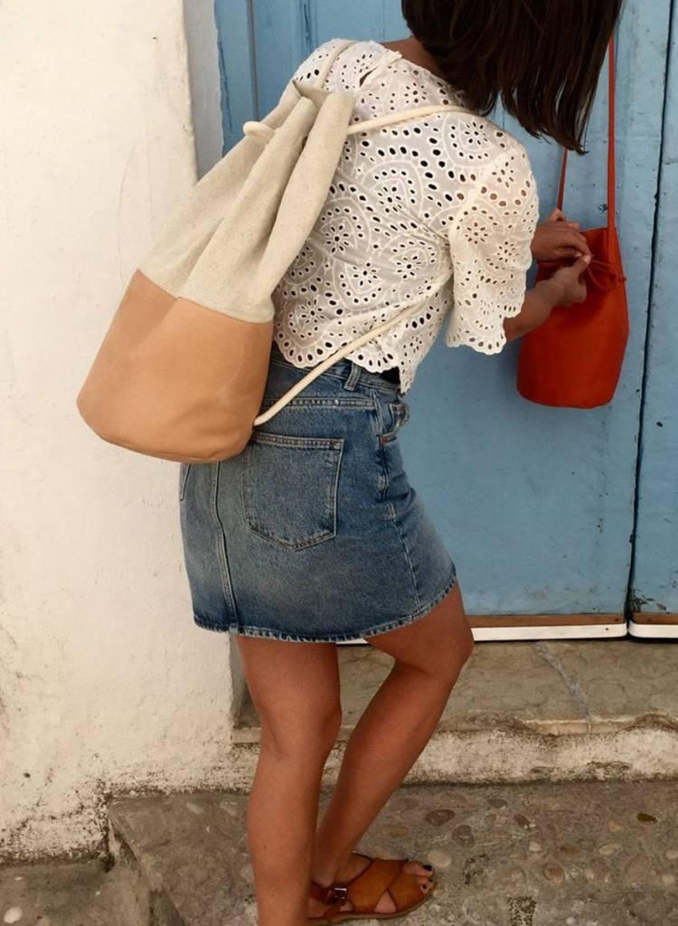 "Marin et Marine Maritime duffel bag ""Sac Marin"" made from calf leather and organic cotton"