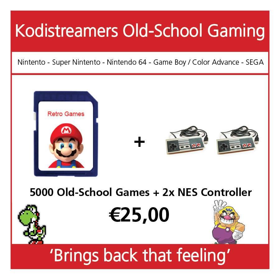 retro game set 2 controllers nes + sd kaart met meer dan 5000 games
