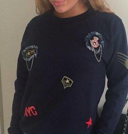 dandy sweaters sweater met emblemen (blauw)