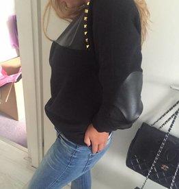 dandy sweaters sweater met leer en studs (zwart)