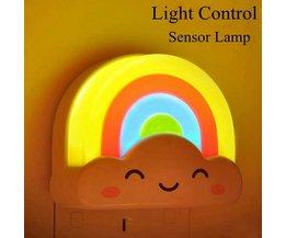Nachtlampje Wolk met Regenboog met Lichtsensor