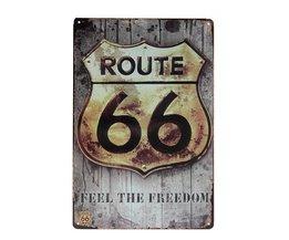 Route 66 Vintage Metalen Wandplaat
