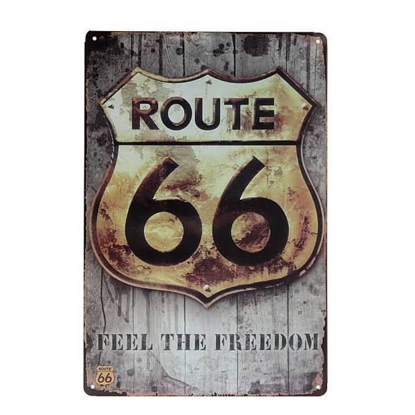 Route 66 Vintage Metalen Wandplaat u20ac 10.49 bij MyXLshop