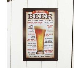 Emaille Bord met Bierprint