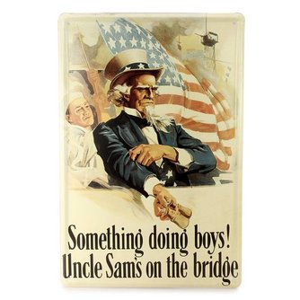 Vintage Metalen Plaat met Uncle Sam